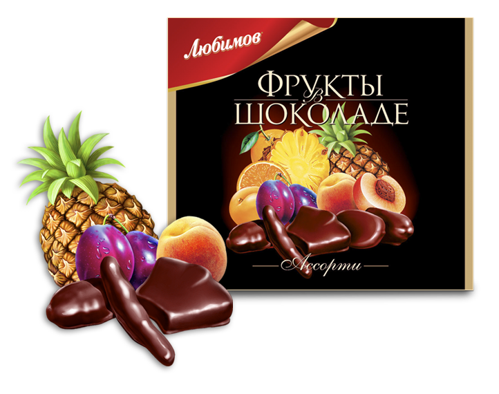 "Lubimov Candy ""Assorts Fruit in Chocolate"""